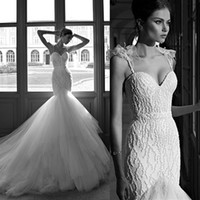 Cheap Luxury Berta Beads Mermaid Wedding Gowns Spaghetti Backless Long Train Dresses 2014 Tulle Feather Crystal Bridal Dress Wedding Dresses New