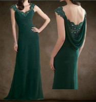 Cheap HOT 2014 Dark Green V-Neckline Lace Beads Off-Shoulder Chiffon Mother of the Bride Dresses Prom Evening Dress