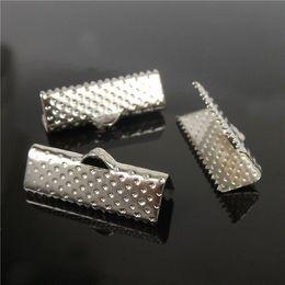 Wholesale 70pcs, 20mm Silver Plated Clips Ribbon Clamps Connectors ribbon crimp for DIY bracelet H7816