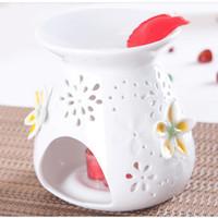 white flower oil - Dia cm MINI Flower Mosaic White Ceramic Fragrance Oil Burner Aromatherapy Vaporizer Furnace DC811