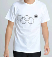 Unisex Cotton Round 2014 Russia Winter Sochi Olympic Games Olympic Ring White T-Shirt 100%cotton Special design sports jerseys T shirt