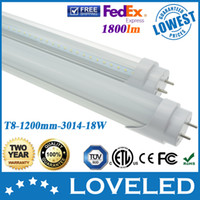 Wholesale 100 Guaranteed Best Price W T8 LED Tube Light Lamp Bulb mm Feet Pure White Replace W fluorescent Free Fedex