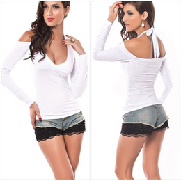 Wholesale Hot Women s Sexy Deep V Neck T shirts Europe Style Halter Off Shoulder Long Sleeve Club Wear Tops T shirt Colors
