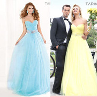 Wholesale Spaghetti Beaded Sheer Formal Backless Prom Dresses Hot Spring Summer Sexy Cheap Ball Gown Crystal Tulle Evening Dress Long Yellow Blue