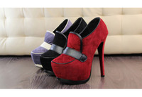 Cheap Korean fashion sweet thick soles platforms 5cm heel height 14cm flock dress high heels shoes pumps for women