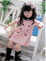 Cheap 2014 Korea fashion baby girls dress cute pink color 2 - 7 years children's princess dress on sale kid's dress
