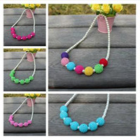 Plastic Necklace  Hot selling girls necklace candy color sweater chain Korea fashion girls rainbow pearl chrismas ornaments