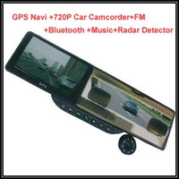 Best car dvr HD720 5 Inch Bluetooth headset Rearview Mirror WinCE GPS Navigator car black box camcorder DVR car drive record rear view camera