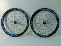 Cheap 1pair blue DURA-ACE C50 700C (50mm) clincher rim 3K full carbon bicycle wheelset Road carbon bike wheelset+spokes+hubs Free ship