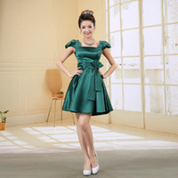 Reference Images Scoop Satin a line sweetheart emerald green modest plus size short prom dress new dresses with sleeves weddings cheap green one 2014 W928