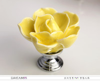 Wholesale Yellow lotus dresser knob Flower ceramic knob for cabinet Kitchen cabinet hardware knob and pull
