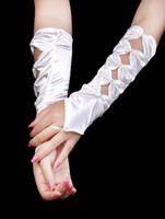 Wholesale Best Ivory Satin Beaded Wedding Gloves For Brides white r54 u11 oqW