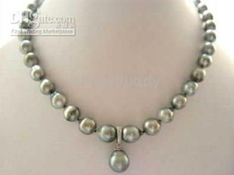 RACE 11-13MM SOUTH SEA GRAY PEARL PENDANT NECKLACE 18oinches