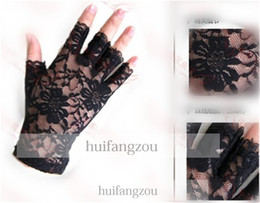 Wholesale 2014 Cheap Wedding Accessories White Ivory Black Bridal Gloves Five Half Finger Gloves Lace Hollow Wrist Sexy Length