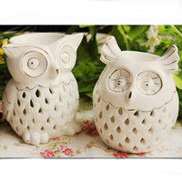Wholesale Creative Owl Design White Ceramic Essential Oil Burner Aromatherapy Fragrance Container Air Freshener Holder DC808