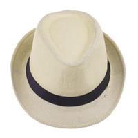 Cheap Current Unisex Straw Fedora Hat Soft Panama Cap Light Beige Stingy Brim Sun Beach Hat ZDS5*10
