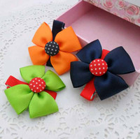 Wholesale Hot Sale Baby Satin Fabric Flowers bow For Hair clip Kids Hair Accessory K0344