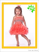 Cheap 2014 New Little Girls Orange Light Green Ball Gown Girls Pageant Dresses Spaghetti Beaded Crystal Sequins Ruffled Roses Girls Formal Gowns