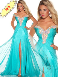 Wholesale Best Selling Stunning Rich Beaded Cap Sleeve Prom Dresses Long Chiffon Aqua Formal Evening Prom Pageant Dress Gowns P