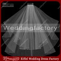 Wholesale Ivory White Beaded Edge Bridal Veils Elbow Length Tulle Two Layered Ladies Headwears Wedding Veils