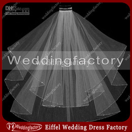 Wholesale Ivory White Beaded Edge Bridal Veils Elbow Length Tulle Two Layered Ladies Headwears Wedding Veils