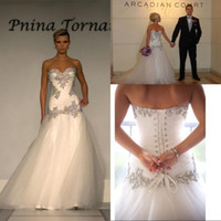 pnina tornai wedding dresses - 2014 Wedding Dresses Pnina Tornai A Line Sweetheart Bling Bling with Tulle Beaded Lace Up at Back Chapel Train Bridal Gowns