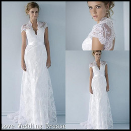 2014 A Line Wedding Dresses Back Keyhole White Formal Bridal Gowns V Neck Capped Sleeveless Beach Dress Sash Bowed Evening Gown YZ13