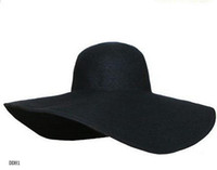 Wholesale Trendy Lady Sunbonnet Caps Wide Large Floppy Sun Beach Caps Derby Wide Brim Black Hats DDH1