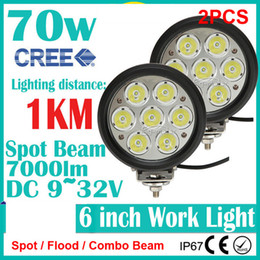 "2PCS 6"" 70W CREE 7LED*(10W) Work Light Driving Spot Off-Road SUV ATV 4WD 4x4 Flood   Combo Beam 9-32V 7000lm JEEP Truck IP67 Replace HID 1KM"