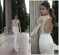 Wholesale long sleeve lace wedding dresses with high neck gold sash sheer lace applique Berta Bridal backless wedding dresses gowns BO3910