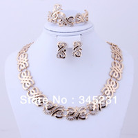 Bracelet,Earrings & Necklace Women's Party Free shipping 2014 fashion high quality costume jewelry Gold plated rhinestone jewelry sets african