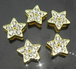 Wholesale 8mm 100pcs lot Rhinestones Gold Color Star Slide Charm DIY Accessories fit for 8mm leather wristband keychains