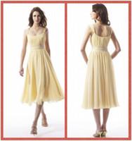 tea length bridesmaid dresses - Cheap Tea Length Bridesmaid Dresses A Line Straps Chiffon Bridesmaid Dress Beach Bridesmaids Dresses Western Bridesmaid Dress