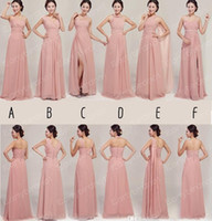 Wholesale Custom Made Real Photos Bridesmaid Dresses Chiffon Long Skin Party Prom Gowns For Maid of Honor Mix Order BO0320