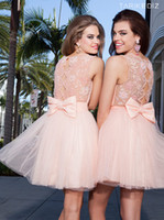 Wholesale 2014 Sexy Peach Sheer Beaded Crew Neck Short Prom dresses Tulle Skirt A Line Mini Party Cocktail Cocktail Dresses Homecoming