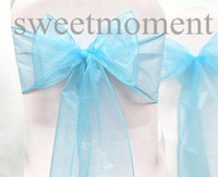 Wholesale 25PCS Wedding Serviette Bridal Favour Sky Blue Chair Sheer Organza Sash Supplies