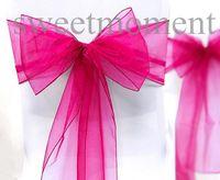 Wholesale 25pcs quot cm W x quot cm L Wedding Banquet Bow Fuchsia Sheer Organza Chair Sash Serviettes Cover Party Bridal Sashes Supplies