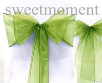Wholesale 25PCS Wedding Party Banquet Annual Event Sage Green Chair Sheer Organza Sash Decor Bow FREE S H