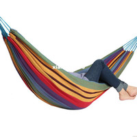 Cheap Wholesale - Freeshipping camping hammock swing outdoor thickening canvas hammock casual single bearing