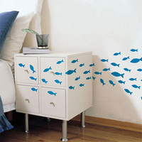 Wholesale Simple cartoon bathroom cabinet door wall stickers set fish