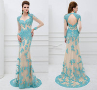 Wholesale Crystal Cut Out Evening Dresses - Grace Prom Dresses Sheath Tulle Formal Evening Gowns Beaded Appliques Sheer Long Sleeve Cut-Out Back Sweep Train