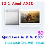 Wholesale 10 Ainol AX10 G Tablet PC Phone Call w GPS Bluetooth Android MT8389 Quad Core GHz Dual SIM GB Free Ship Ram GB From Imgirl