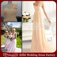 apricot photo - One Shoulder Bridesmaid Dress A Line Ruched Chiffon Apricot Lilac Floor Length Prom Dress with Handmade Flowers Patterns