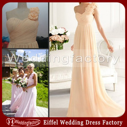 One Shoulder Bridesmaid Dress A Line Ruched Chiffon Apricot Lilac Floor Length Prom Dress with Handmade Flowers Patterns