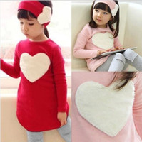 Wholesale New Fashion Spring Autumn Kids Baby Girls Child Long Sleeve Red Pink Love Heart Dress Applique Legging Hair band Cotton Set
