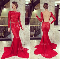 Wholesale 2014 Red Long Sleeve Sheer lace Backless Mermaid Evening Dresses high neck Bateau Vestido De Novia open back long formal prom dresses BO3587