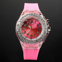 Wholesale Flash LED Backlight Watch Unisex Watches Colorful LED Watches Fashion Design Wristwatches pink