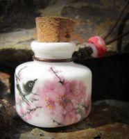 Cheap 2014 new fashion handmade DIY blue and white porcelain bottle cork lovebirds vow perfume bottle pendant necklace