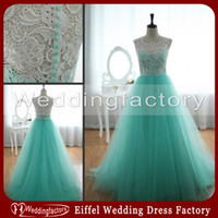 Wholesale Turquoise Green Lace Tulle Prom Dresses A Line Floor Length Sleeveless Sweetheart Gowns for Wedding