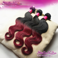Brazilian Hair Body Wave Ombre Hair Hot Sale Ombre Hair Extensions Color #1b Burgundy Red Brazilian Hair Body Wave Weaves Human Hair Extensions Weft 3-4 pcs lot